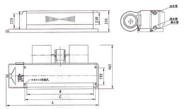 普通型卧式暗装风机盘管结构图