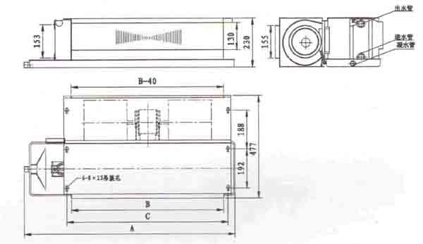 后回风卧式暗装风机盘管结构图