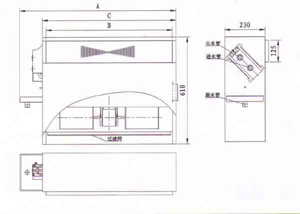 立式暗装风机盘管结构尺寸图